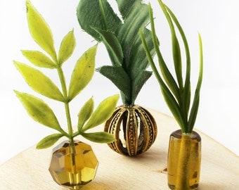 Set of 3 Miniature Vases - Glamourous Greens
