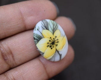 18x25mm Vintage Hand Painted Floral Glass Cabochons Cameos, 4pcs