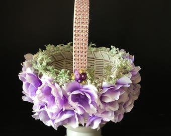 Lavender and White Flower Girl Basket