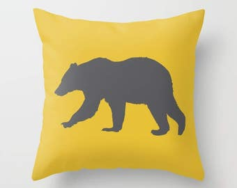 Bear Pillow  - Mustard Yellow and Grey Decor - Bear Cushion  - Modern Home Decor - By Aldari Home