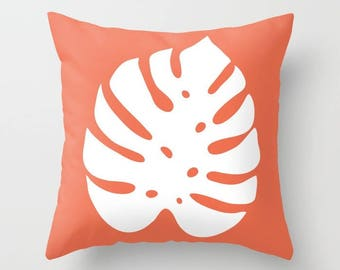 Monstera Leaf Pillow Cover - Modern Leaf Pillow Cover - Philodendron Leaf Pillow Cover - Coral Decor - Modern Home Decor -