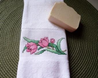 Pink Tulips  Cross Stitch Guest/Fingertip Towel/ Hostess Gift