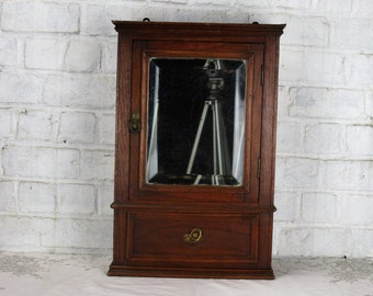 Vintage Medicine Kitchen small Wall Cabinet Apothecary wood beveled glass mirror