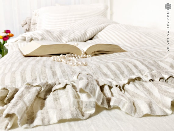 Off White Taupe Linen Set Of Duvet Cover And Pillow Shams With