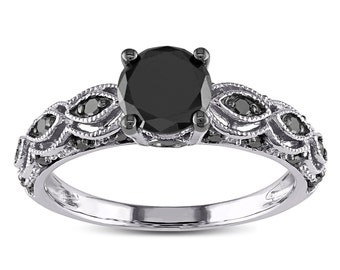 1.25 Carat Round Black Diamond Engagement Ring for Women in White Gold, Limited Time Sale Under 300