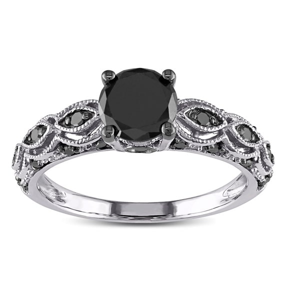 1 25 Carat Round Black Diamond Engagement Ring for Women in