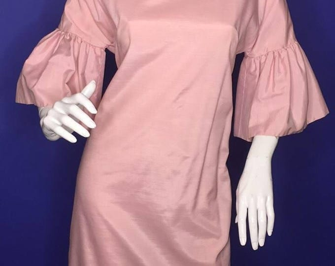Vintage Estate Soft Pink Circular Flounce Sleeve 1950s Dress