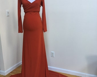 Ready to ship Scarlet Maternity Dress,Off Shoulders Sweetheart Neckline Long Sleeves Maternity,  Photo Prop Dress, orange, rust