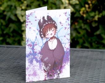 Welsh Girl Greetings Card, St Davids Day