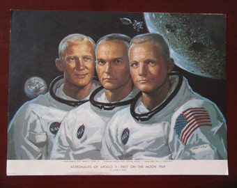 Astronauts of Apollo 11 Picture Photo  First on the Moon 1969 Aldrin Colllins Armstrong Collectible C432