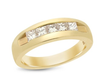 1.05 Ct. Natural Diamond Princess Cut Channel Mens Wedding Band Ring 14k Yellow Gold