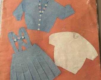 Beautiful Sirdar 4ply little girls pinafore , cardigan and jumper knitting pattern