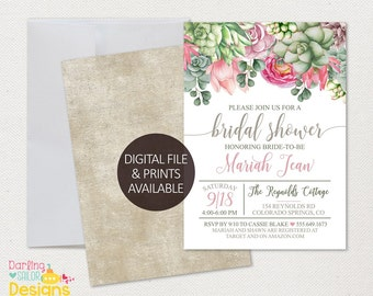 Boho Bridal Shower Invitation, Digital or Prints Available, 5x7 or 4x6, Invite, Bohemian, Boho Bride, Succulents