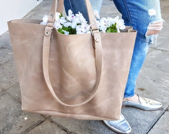 Large Leather Tote Bag, Blush Leather Tote