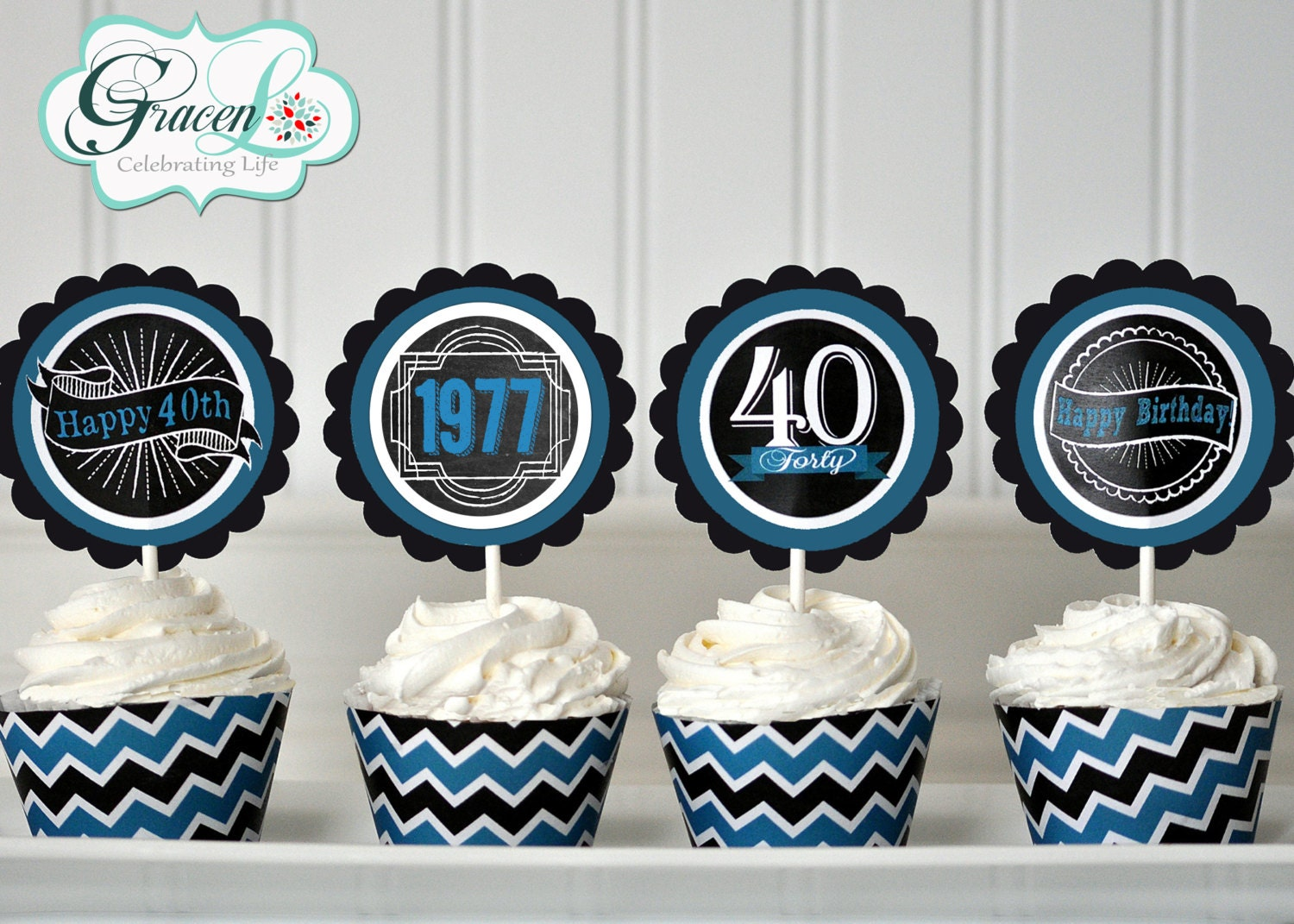 40th Birthday Cupcake Toppers 40th Birthday Decoration 40th