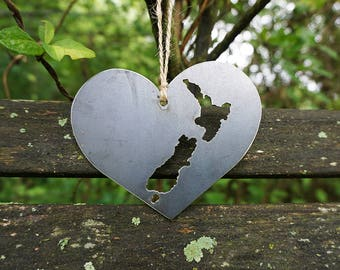 New Zealand Love Christmas Ornament Metal Heart Christmas Tree Ornament Holiday Gift Industrial Decor Wedding Favor By BE Creations
