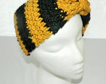 Crocheted Gold and Black New Orleans Saints Cinched Bow Style Headband Ear Warmer