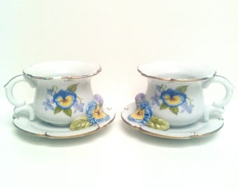 Tea cup decor candle holders Shabby chic décor home decor flowers decor pair of candle holder Ceramic candle holders flowers
