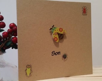 Son Birthday Card with Insects for Children or Adults : Handmade Kraft Card with Creepy Crawlies for Special Son