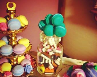 MINIATURE MACAROON POPS, set of  three 1:12 scale green and blue, handmade, dollhouse macaroon cake pops