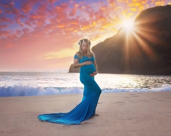 Maternity gown, fitted gown, mermaid gown, photo prop
