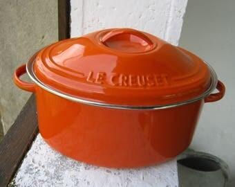 French Enamel Casserole, Vintage Enamel Steel Casserole, Le Creuset Casserole Dish