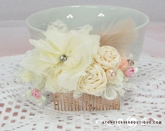 Birdcage Veil and Silk Hair Comb - bridal headpiece wedding veil crystal comb bridal hair comb wedding hair piece bandeau birdcage ivory