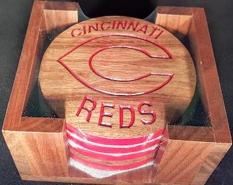 Cinncinatti Reds Coaster Set/ Custom woodworking product