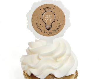 Graduation Cupcake Picks - Graduation Party Cupcake Decorations - Bright Future Cupcake Picks - Graduation Treats - Set of 12