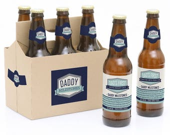 Daddy's First Milestone Beer Labels - New Dad Gift - 6 Beer Bottle Labels & 1 Carrier - Funny Baby Shower or Father's Day Idea