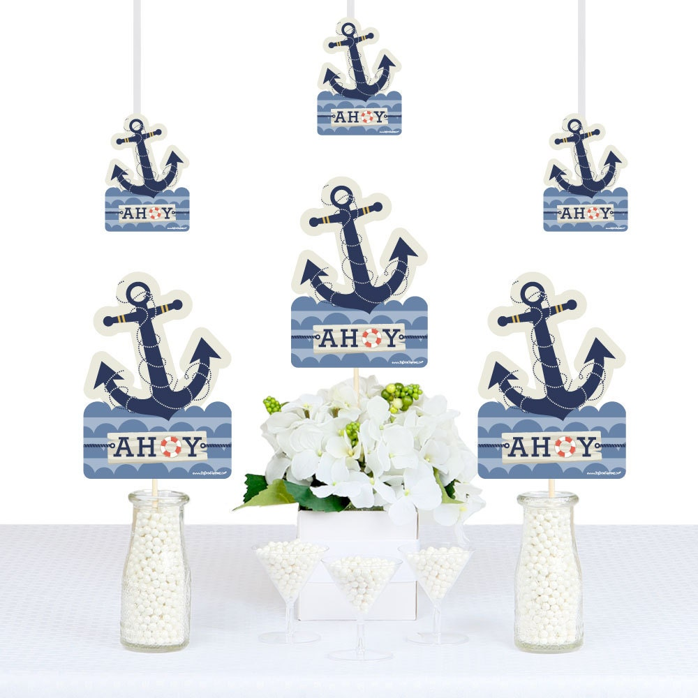 Nautical party decorations diy anchor shaped nautical party for Anchor decoration party