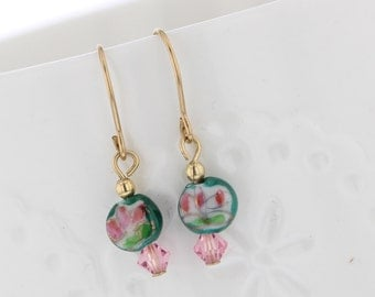 14KT Gold Filled Vintage Glass Bead Dangle with Pink Crystal Dangle Earrings, Vintage Glass, Glass Bead Earrings, Green Bead, Floral, flower