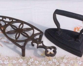 Small Cast Iron Flat Iron & Metal Trivet Stand. 1800's