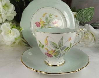 Roslyn Teacup, Saucer , Plate Vintage Duck Egg Blue