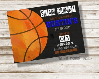 Basketball Birthday Invitation, Basketball invite, Basketball party, Boys birthday, Birthday Party, Basketball, bball, DIGITAL FILE ONLY