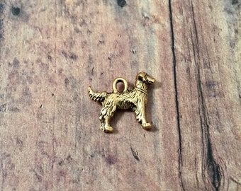 Retriever charm (2 sided) gold toned pewter (1 pc) - gold labrador retriever pendant, golden retriever charm, gold labrador charm