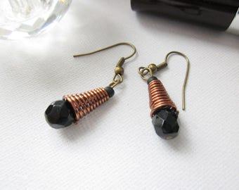 Black dangle earrings, elegant  black and bronze earrings, womens dangle earrings