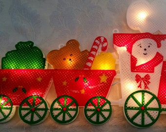 Christmas window lighted Santa's sleigh, double sided 20 mini lights, c. 1980s