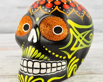 D100 Clay Skull Day of the Death Oaxacan Wood Carving Painting Handcrafted Folk