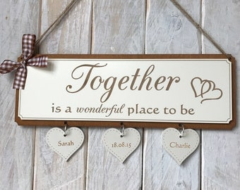 Personalised Wedding Engagement Gift Plaque - Together is a Wonderful Place to Be