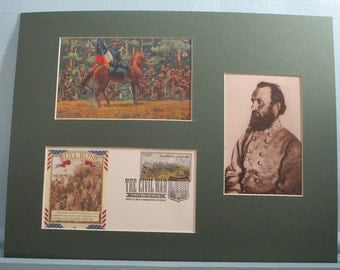 Stonewall Jackson at the Battle of Bull Run and First Day Cover of the stamp honoring the Battle's 200th Anniversary