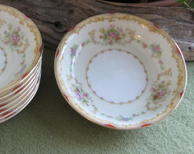 Vintage Noritake Dessert Bowls Dinnerware Set of Eight (8) Small Bowl Priced Individually Circa 1930s