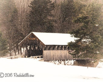 New England Winter ~ Covered Bridge Snowy Winter Scene Photograph ~ Art