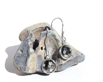 Sterling Silver Pyrite Earrings - Faceted Pyrite Dangle Earrings