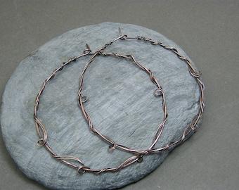 Large hoop earrings ~ Over sized hoops ~ Hoop earrings ~ Copper hoop earrings ~ Unique hoops ~ Gift for her ~ Copper hoops ~ Big hoops