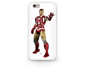 """Iron Man Phone Case Typography Design from the Marvel Universe Avengers with his name, """"IRON MAN"""" Red and Gold i-Phone Case Skin, Tony Stark"""