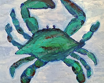 """Getting Crabby; Crab #111, an original acrylic painting size 8"""" x 8"""""""