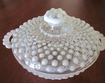 Moonstone Hobnail Covered Candy Dish, Hocking Glass Co., 1942-1946