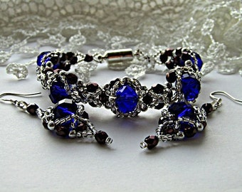 Cobalt Blue  Bracelet   Glass Bead Bracelet and Earrings Beadwork Bracelet Blue Bracelet  Beadwoven Bracelet Jewelry Set Ready to ship OOAK