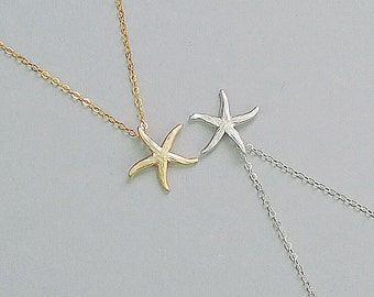 Starfish Necklace, Sterling Silver Necklace, Delicate Gold Jewelry, Beach Wedding, Bridesmaid Gift, Gift For Her, Layering Necklace